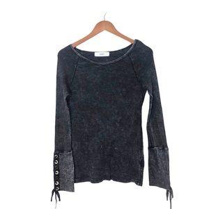 ABLE Lace Up Cuff Long Sleeve Waffle Knit Shirt